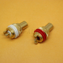 Wholesale Brass Female RCA Jack Terminal Audio Video signal input output Connector for AMP TV CD PLAYER DAC Gold Plated