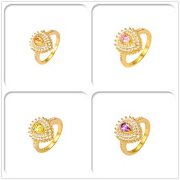 Wholesale 24K Gold Plated Rings Luxury Simulated Diamond AAA CZ For Women Christmas Gift High Quality Fashion With Jewelry Hot Sales