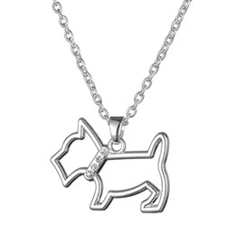 Silver Tone Iced Out Pattern Animal Dog Pet With Crystal Stone Charm Pendant Girls Birthday Necklace