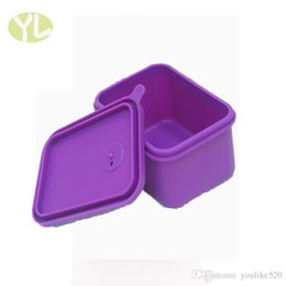 Wholesale 2016 new products High Quanlity Silicane Anti hot lovely eco friendly cuboid purple lunch boxs for Microwave heating hot selling