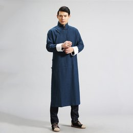 Wholesale Chinese Style Coat Men - Fall-Manual design Chinese style men's trench jacket men loose leisure 100% linen long coat punk cool men Kung Fu clothing Q397