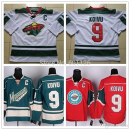 2016 New, Cheap Men Minnesota Wild Hockey Jerseys Home Red White Green #9 Mikko Koivu Jersey Authentic Stitched Jerseys C Patch