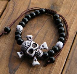 Wholesale de gros bracelets Bracelet Or Argent crâne élastique de nouveaux hommes Noir Couleur Perles plastique Tibet charme pour FEMME