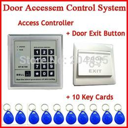 Rfid clave cerraduras de las puertas en Línea-Sistema de control de acceso al por mayor RFID Keytab cerradura de la puerta de la proximidad 5YOA a estrenar + tarjeta de la lengüeta de la llave de RFID + Interruptor del botón de la salida de la puerta