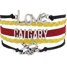 Custom-Infinity Love National Hockey League Calgary Flames Team Bracelet Ice Hockey Player Fans Adjustable Bracelet Bangles-Drop Shipping