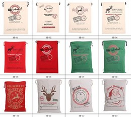 Wholesale popular Christmas Large Canvas Bags styles for choose Santa Claus Drawstring Bags With Reindeers cotton Christmas Gift Sack Bags