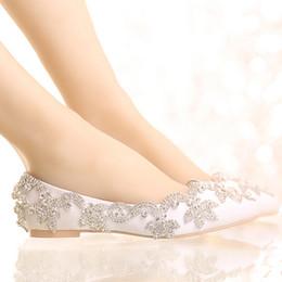 White Satin Diamond Wedding Shoes Flat Heel Women Rhinestone Bride Shoes Handmade Fashion Comfortable Formal Dress Shoes