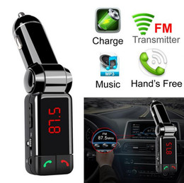 Wholesale Reproductor de MP3 del coche Bluetooth Transmisor FM inalámbrico FM Modulador Kit de coche Manos Libres LCD Display USB Cargador