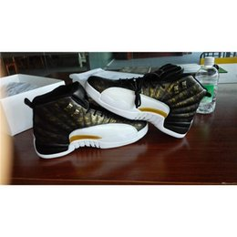 Wholesale 2016 high quality air retro XII wings men Basketball Shoes Retro s Discolor Gold Wings Black Golden retro s Sports Sneakers Boots