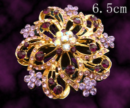 Wholesale fashion Women plating gold zinc alloy rhinestone flowers Pins Brooches costume jewelry Free shipping 12pcs lot mixed color BH656