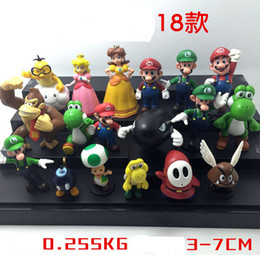 Wholesale Plastic Super Mario Bros PVC Action figures Mario Luigi Yoshi Princess Toys Dolls set YH201