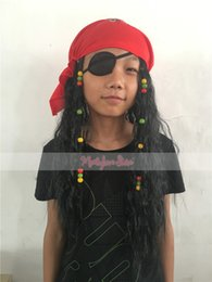 Wholesale 2016 New Halloween Cosplay Wig Movie Character Pirates of the Caribbean Captain Hook Jack Pirate Heat Resistant Synthetic Hair with Eyeshade