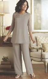 Wholesale Beaded Sequins Gray Mother Bride Pant Suits Dresses Chiffon Cheap Beach Wedding Party Gowns Mother of Groom Formal Wear Plus Size
