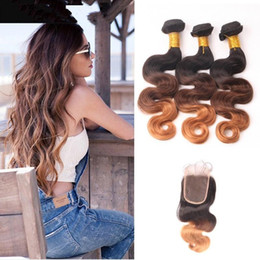 Full Shine Free DHL Delivery 1B 4 30 Ombre Brazilian Hair With Lace Closure 3 Bundles Deals Wth Closure Body Wave Hair