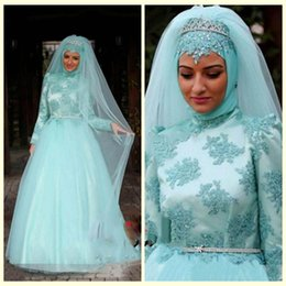 Wholesale High Collar Muslim Wedding Dresses Satin Long Sleeves Applique Bridal Gowns Beaded Sash Sky Blue Wedding Gowns Floor Length Tulle Arabic Dre