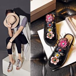 Wholesale Women Black Elegant Fashion Four Flowers Metal Rivets Flower Core Fretwork Upper Flat Heel Lady Summer Slides Slippers Shoes