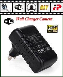 Mini cámaras wi fi en Línea-P2P Wifi Mini Wall Charger Cámara Full HD 1080P Con Detección de Movimiento Grabación de vídeo Hidden Spy adaptador de cámara Wi-Fi Live View Night vision