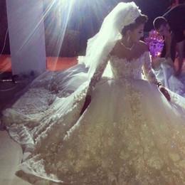Camisa de potencia en venta-Vestidos de noiva Amor de lujo de diseño Appliqued con cuentas de manga larga Bling Bling flores de poder una línea de capilla de tren vestidos de novia