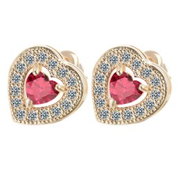 Wholesale 18K White Gold Plated Solitaire Love Heart Cut Red Ruby Accent Mini Stud Earrings for Fashion Kids Girls Childrens Party Jewelry