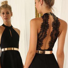 2016 new women fashion backless sexy dress white and black lace sleeveless dresses slim casual mini dress