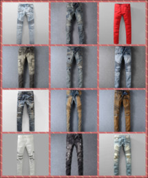 Wholesale Original Brand Paris Fashion Pierre Balmain Jeans Male Balmain Biker Jeans Hole Ripped Stretch Denim Balmai Casual Jean Men Skinny Pants Boy