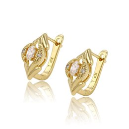 Wholesale 14K Gold Color Eye Shape Copper Huggie Quality Zirconia Earrings For Women Factory Price Xuping Luxury Copper Jewelry Huggie For Gifts