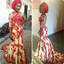 Wholesale Dubai Arabic African Mermaid Evening Dresses Red Lace Formal Evening Dress Gown robe de soiree