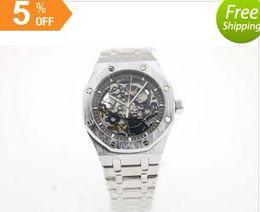 Wholesale 2016 High Quality Brand ap Auto Watch Silver Case Black Hollow Dial Silver Band Oak shore Clock Casaul Watch Montre Homme