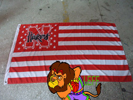 Nebraska custom flag,100% polyester 90*150cm,American national flag background with Nebraska College logo