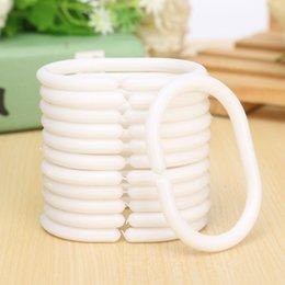Wholesale C Type Shower Curtain Hook Set Best Promotion White Plastic Ring Clips Bathroom Tub Liner Drape Loop Clasp