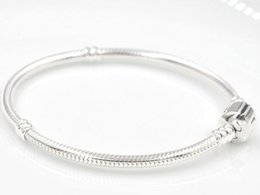 Wholesale 3mm cm Silver Plated Bracelet Snake Chain with Barrel Clasp Fit European Beads Pandora Bracelets With Without Logo DIY