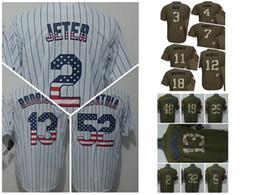 Wholesale HOT New York NY Yankees Derek Jeter White Flag Stitched Baseball Jerseys Babe Ruth Army Green Stitched Baseball Camo Athletic jerseys