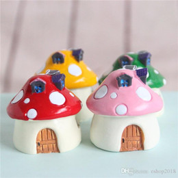 wholesale~5 Pcs resin red dots mushroom house fantasy miniatures lovely animals fairy garden gnome moss terrarium decor crafts bonsai