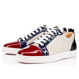 Франция человек Онлайн-[Подлинный Box] Франция Роскошные обувь младших Flat Мужские Удобные Lowtop Sneaker красной подошвой скейтборд обувь Повседневная обуви Дешевые Скидка Продажа