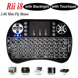 Wholesale Wireless Backlight Keyboard Rii Mini i8 G Air Mouse Media Player Remote Control with Touchpad for Android TV Box MXIII MXQ Plus Mini PC