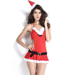 Wholesale Christmas Hats For Adults - Wholesale-Red Hot Sexy Christmas Costume Dress with hat+thong+waistbelt for women adult Santa Claus Cosplay Lingerie Costume Suit 7242