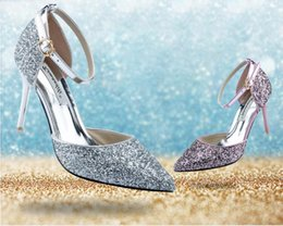 Wholesale Sexy Silver Wedding Sandals - Plus size lock High heel sandals 2016 glitter sequined silver wed shoe women pumps glitter shoes sexy wedding party prom shoes gold