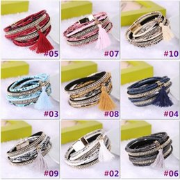 Wholesale Braided Multilayer Rhinestone Leather Bracelet Femme Brazilian Beach Magnet Buckle Tassel Friendship Bracelets Boho Jewelry b181