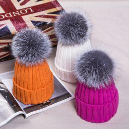 Wholesale New Winter Fur Pompom hat for women Big Real Fox fur Beanies cap bobble hat