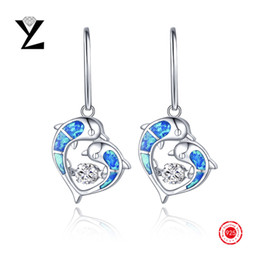 Wholesale Luxury Sterling Silver Earrings Blue Opal Earrings Natural Crystal Dancing CZ Diamond Dangle Earrings Gold for Women Christmas Gift