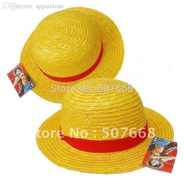 Gros canotier à vendre-Wholesale-NEW ONE PIECE LUFFY Anime Cosplay Hat Cap Straw Boater set (5 pièces par lot)