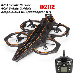 Wholesale Aircraft Carrier Shape RC Quadcopter G CH Axis RTF Amphibious RC Toy with LED Light MAH Lipo Battery