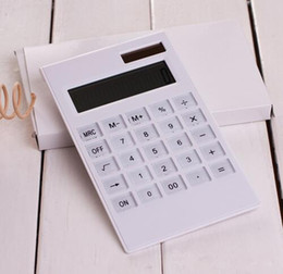 Wholesale Fashion Hot Creative Slim Portable mini digital calculator Solar Energy crystal keyboard Dual power supply rekenmachine