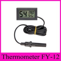 Wholesale FY Digital Thermometer Hygrometer Mini Portable Black LCD Display Temperature Humidity Meter Embedded with M Wire For Home Industry