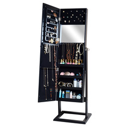 Wholesale Black Wall Mounted or Free Standing Jewelry Cabinet Storage Organizer Box With Mirror Door And Inner Mirror