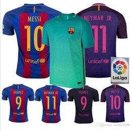 Wholesale Top Thai Jerseys Barcelona jerseys third home away soccer men shirts MESSI NEYMAR SUAREZ fans style ET