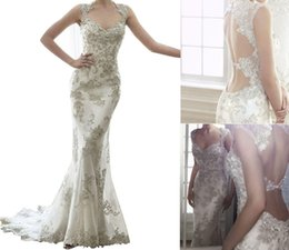 Wholesale 2017 Sexy Lace Appliques Crystal Mermaid Wedding Dress with Queen Anne Sleeves Sweetheart Neckline Backless and Court Train Elegant Bridal