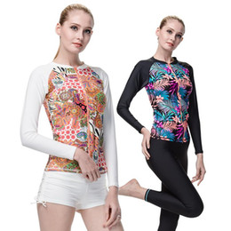 Wholesale Womens Swimming Suits Long Sleeves Shirt Swimming Diving Rashguard Rash Guard Top Swimming Suit Long Sleeves Swimsuits for Womens