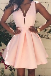 Wholesale Cheap Plunge Dresses - Blush Pink Deep V Neck Homecoming Dresses A Line Satin Zipper Back Plunging Cheap Party Dress Custom Made Cocktail Dress Evening Wear