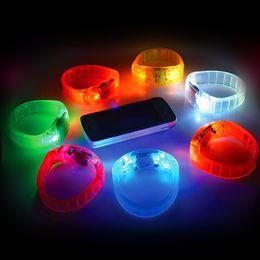 Wholesale Voice Control Flash Hand Ring Sound Activated Sensor LED Flashing Bracelet LED Glowing Bracelet Luminous Led Wrist Strap Featival LED Toys